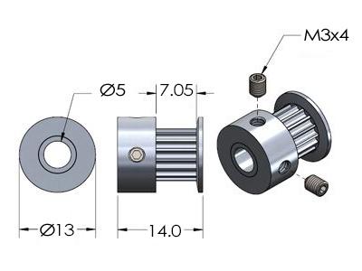 Размеры зубчатого ролика для ремня GT2