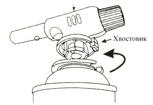 Схема установки газовой горелки на цанговый баллон