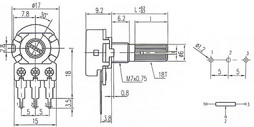 Чертеж переменного резистора WH148
