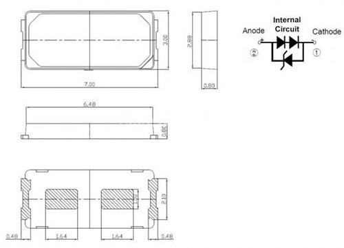 Размеры светодиода SMD 7030