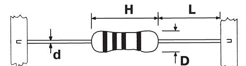 Размеры резисторов