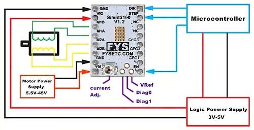 Схема подключения драйвера TMC2130