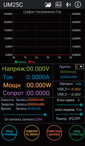 Окно приложения UM25C для Android гаджетов