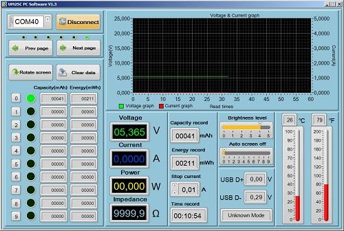 Окно программы UM25C PC Software V1.3