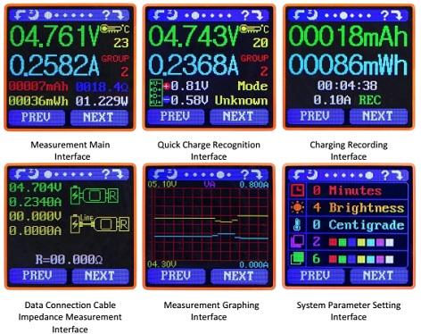 USB тестер UM25C имеет шесть рабочих столов с различными параметрами и функциями