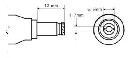 Физические размеры разъема 5.5 x 1.7 мм