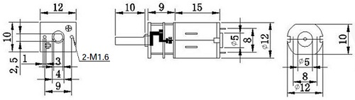 Чертеж двигателя постоянного тока 12GAN20