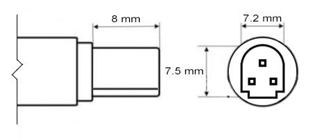 Физические размеры разъема 7.5 х 7.2 мм