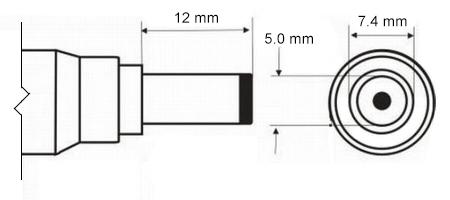 Физические размеры разъема 7.4 х 5.0 мм